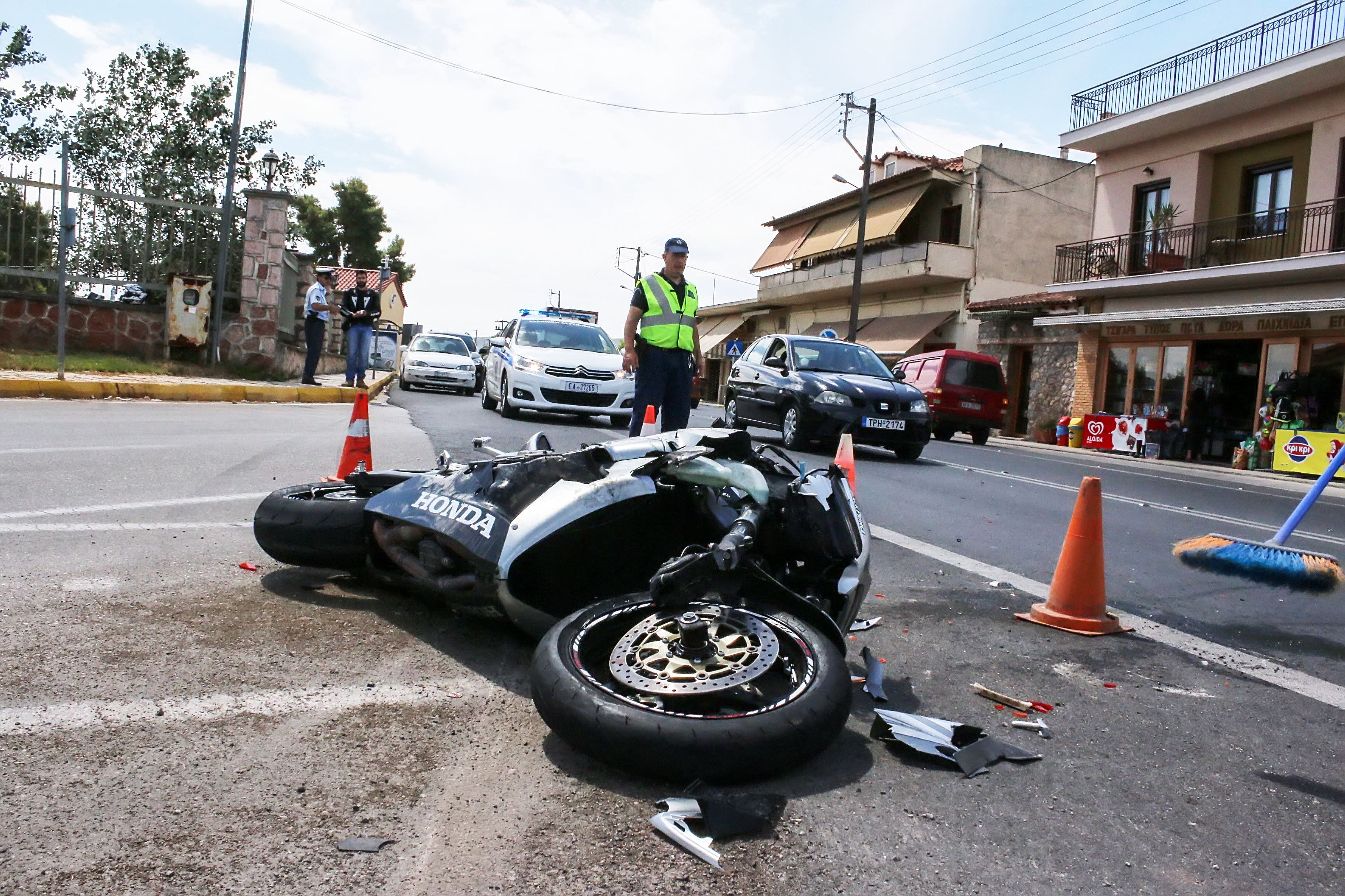 Motorcycle Crash - Motorcycle Surrounded By Cones